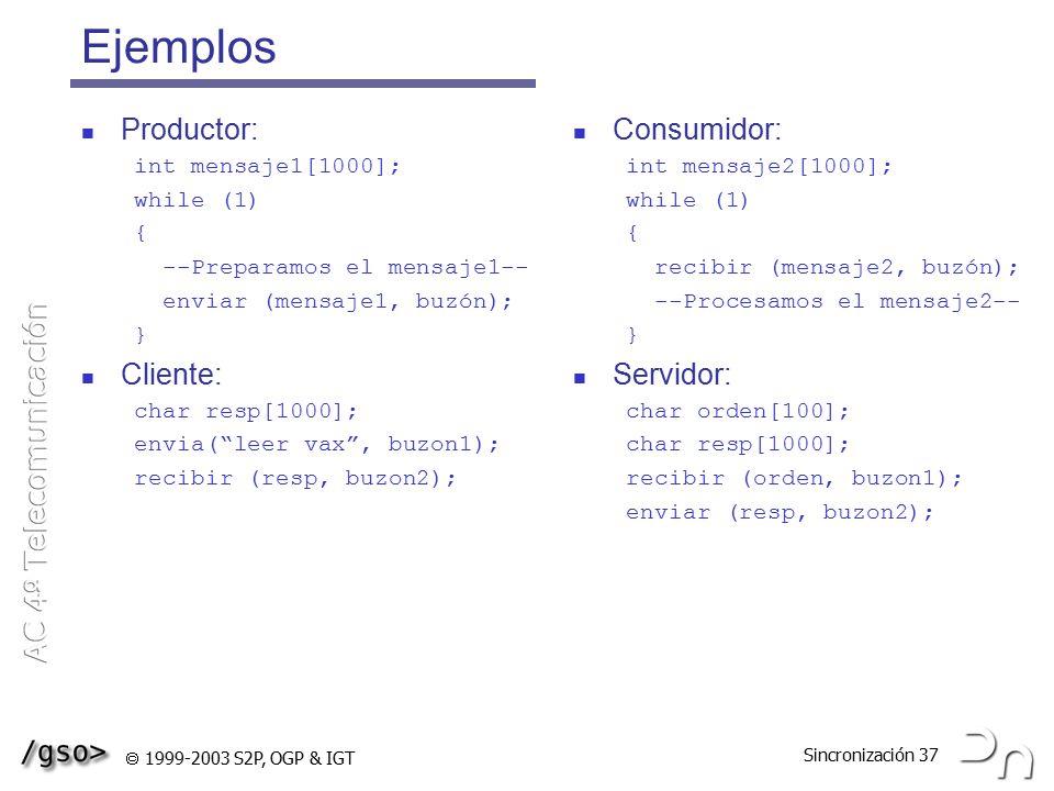 Ejemplos Productor: Cliente: Consumidor: Servidor: int mensaje1[1000];